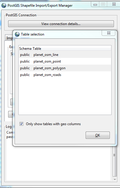 Postgis gui Select tables